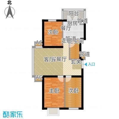 民生国际75.69㎡J户型3室1厅1卫1厨
