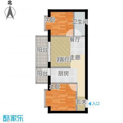 民生国际47.53㎡I户型2室1厅1卫1厨