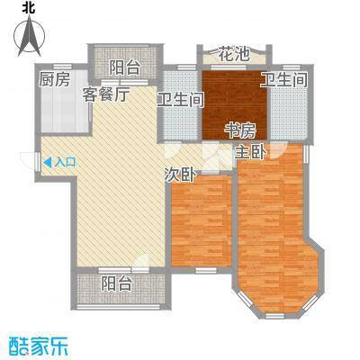 远洋时代城125.00㎡远洋时代城户型图51#楼F1户型3室2厅2卫1厨户型3室2厅2卫1厨