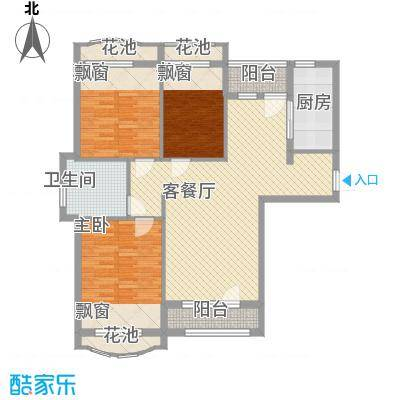 远洋时代城107.00㎡远洋时代城户型图61#楼E2户型3室2厅1卫1厨户型3室2厅1卫1厨