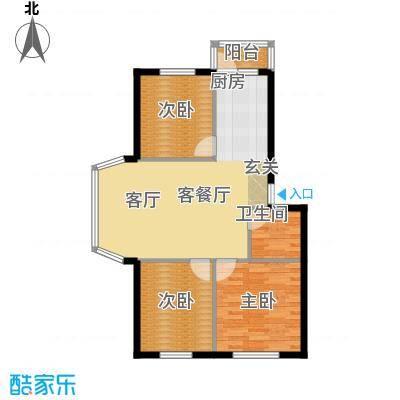 天薇丽景园76.06㎡三室户型3室1厅1卫1厨