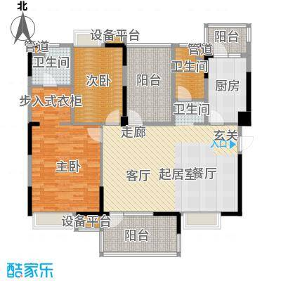 新世纪领居三期133.00㎡新世纪领居三期户型图1、2栋标准层E1户型2室2厅2卫1厨户型2室2厅2卫1厨
