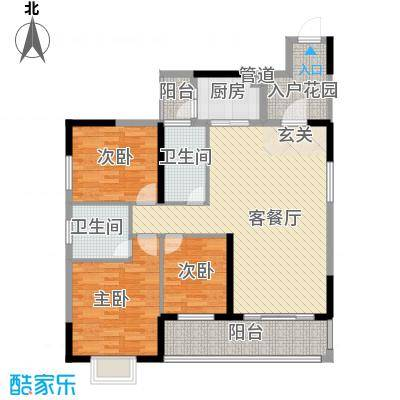 金溪尚筑121.00㎡金溪尚筑户型图1座01户型3室2厅2卫1厨户型3室2厅2卫1厨