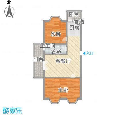宏晟时代广场户型2室2厅1卫1厨