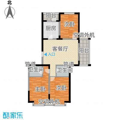 盟科观邸B区3#1单元户型2室1厅1卫1厨