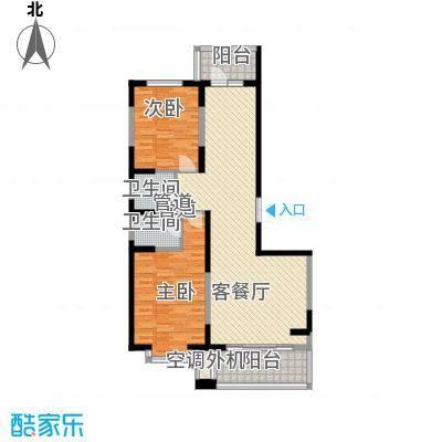 盟科观邸A区4#2单元户型2室1厅2卫1厨