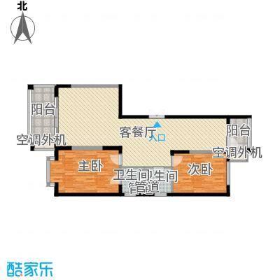 盟科观邸B区5#1单元户型2室1厅2卫1厨