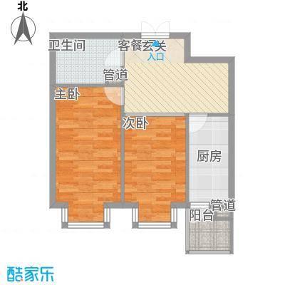 恒祥首府C栋三单元2门两室一厅一卫50.57平方米户型2室1厅1卫1厨