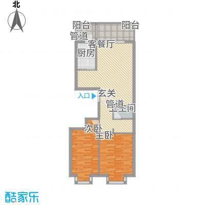 恒祥首府D栋二单元1门两室两厅一卫83.60平方米户型2室2厅1卫1厨