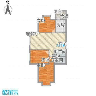 恒祥首府B栋一单元3门三室两厅一卫88.56平方米户型3室2厅1卫