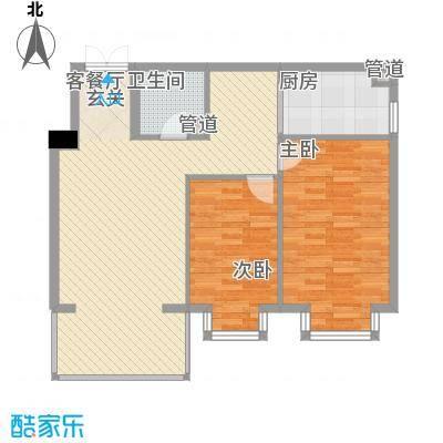 恒祥首府D栋一单元2门两室两厅一卫72.80平方米户型2室2厅1卫1厨