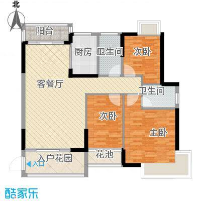 龙湾新城115.16㎡龙湾新城户型图E1/E2栋3-23层02单位3室2厅2卫1厨户型3室2厅2卫1厨