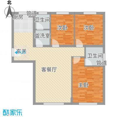 港湾观海115.77㎡港湾观海户型图2、3号楼G4户型3室2厅2卫1厨户型3室2厅2卫1厨