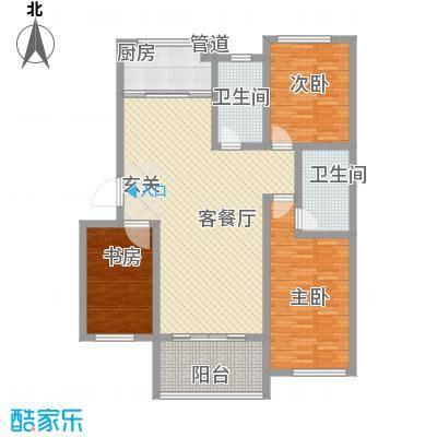 枫和庭苑户型图15#楼D户型 3室2厅2卫1厨