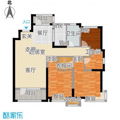 未名山II期户型图b1b2号楼C户型 3室2厅2卫1厨