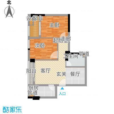 阳光城新界户型图G户型 2室2厅1厨1卫64㎡ 2室2厅1卫1厨
