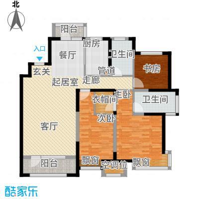 未名山II期户型图b3、b4号楼D户型 3室2厅2卫1厨
