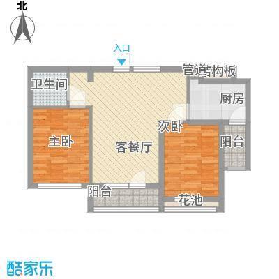 远洋时代城户型图51#楼B户型 2室2厅1卫1厨
