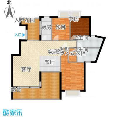 观山湖1号户型图二期别院洋房13、14栋F-1户型 3室2厅2卫1厨