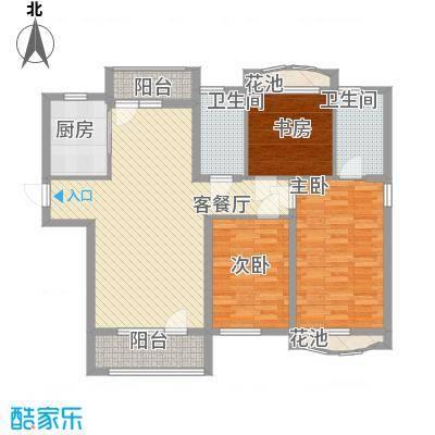 远洋时代城户型图64#楼G户型 3室2厅2卫1厨