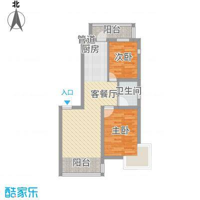 江尚逸品74.35㎡高层A座户型2室2厅1卫1厨