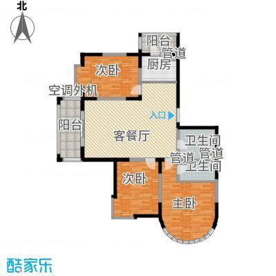 盟科观邸110.03㎡C区2#4单元户型3室1厅2卫1厨