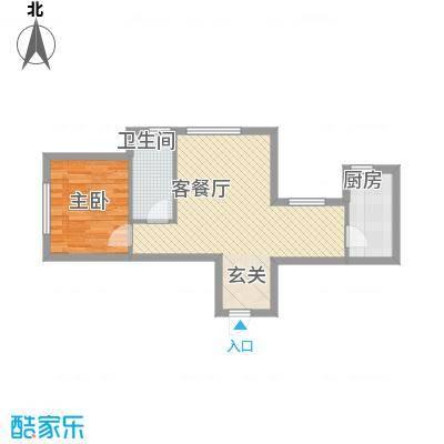 玉龙湾64.00㎡玉龙湾户型图1号楼A户型1室2厅1卫1厨户型1室2厅1卫1厨