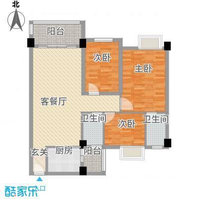 阳光新城89.00㎡阳光新城户型图3和5-6座04单元3室2厅2卫1厨户型3室2厅2卫1厨