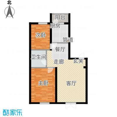 东一时区79.79㎡二室户型2室2厅1卫1厨