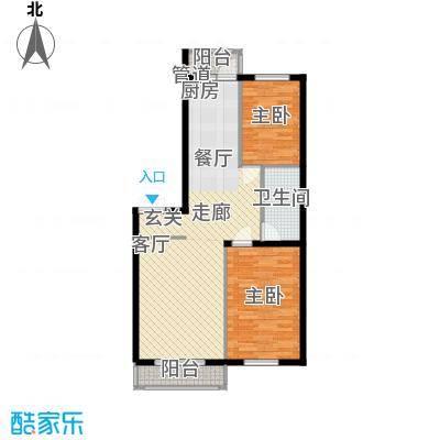 东一时区76.25㎡二室户型2室1厅1卫1厨