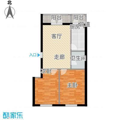 东一时区72.21㎡二室户型2室1厅1卫1厨