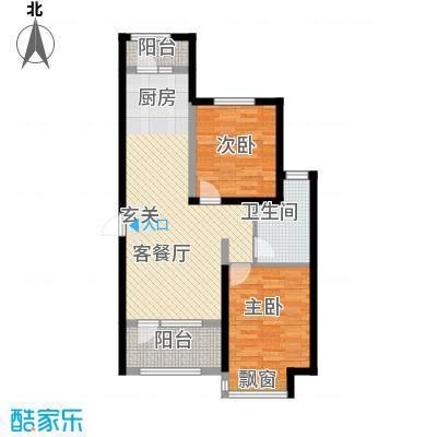 昊宇山海湾88.00㎡昊宇山海湾户型图1#楼C户型2室2厅1卫1厨户型2室2厅1卫1厨