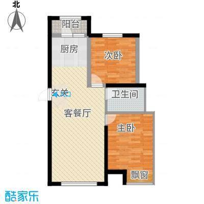 昊宇山海湾85.00㎡昊宇山海湾户型图3#楼B户型2室2厅1卫1厨户型2室2厅1卫1厨