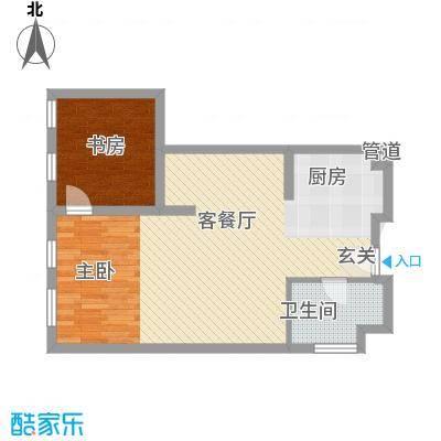想想大厦户型图P户型 2室1厅1卫1厨