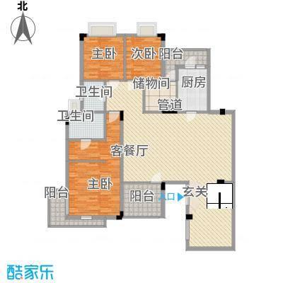 中惠郡庭户型图户型10 3室2厅2卫1厨