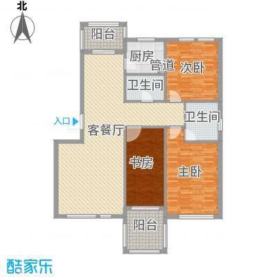 枫和庭苑户型图17#楼E户型 3室2厅2卫1厨