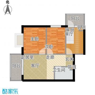 民生国际52.10㎡民生国际户型图R3户型2室1厅1卫1厨户型2室1厅1卫1厨