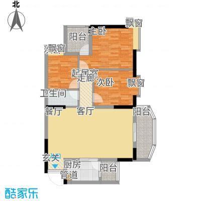 上林苑89.00㎡上林苑户型图22栋2座02单位3室2厅1卫1厨户型3室2厅1卫1厨