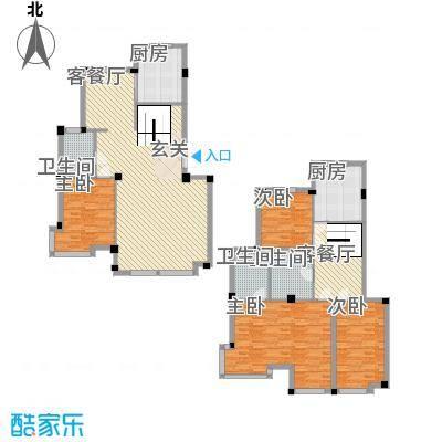 华夏海景223.60㎡跃层户型5室2厅3卫1厨