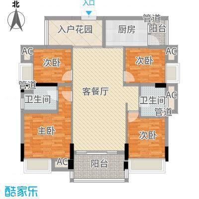 盈拓郦苑119.86㎡盈拓郦苑户型图8栋2-17层1、2单元(05+06)单位4室2厅2卫1厨户型4室2厅2卫1厨