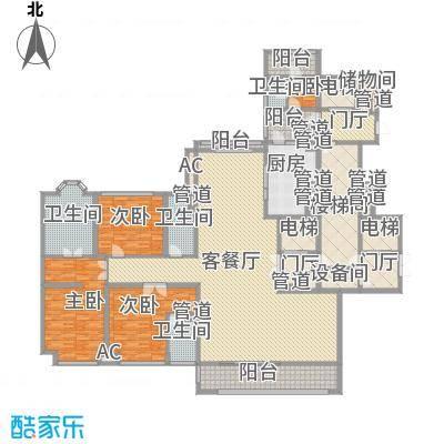 金地天玺129.00㎡金地天玺户型图129㎡单位2室2厅3卫2厨户型2室2厅3卫2厨