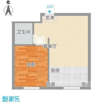 新城丽景54.47㎡新城丽景户型图1#、2#、3#公寓D户型1室1厅户型1室1厅