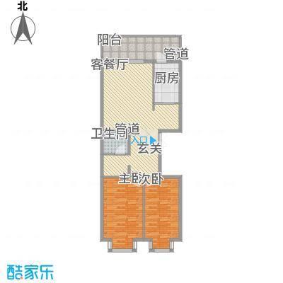 恒祥首府C栋三单元3门两室两厅一卫81.78平方米户型2室2厅1卫1厨