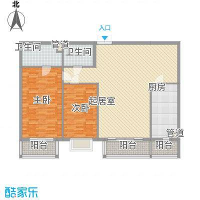 都市胜景户型2室1厅2卫1厨