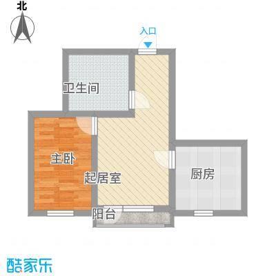 怡海花园55.00㎡户型2室2厅1卫1厨