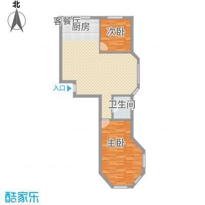 金湾又一城户型图F户型 2室2厅1卫1厨