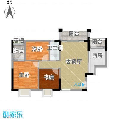 上林苑89.99㎡5栋2-18层01单元2室户型3室1厅1卫1厨
