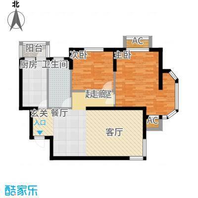 波菲蓝岛项目户型图1、5#102户型 2室2厅1卫1厨