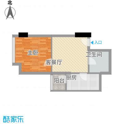 金东中环城户型图4#(中环红)D户型 1室1厅1卫1厨