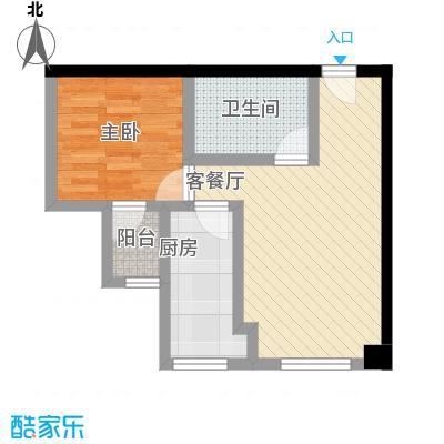 金东中环城户型图4#(中环红)G户型 1室1厅1卫1厨